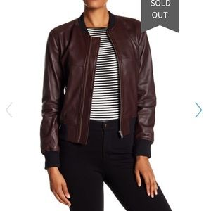 Theory burgundy leather jacket